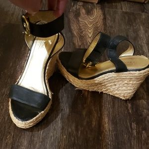 Coach rope wedge heels thick strap shoes